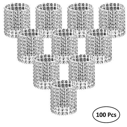 Margueras Serviettenringe, Strassband, 13x4cm, 100Stück, silber, 100 Stück
