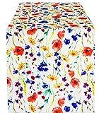 Tischdeckenserie mit bunten Blumen und Klatschmohn. Tischdecken, Mitteldecke, Läufer, Tischband, Kissenbezüge und Tischsets erhältlich. Für Garten, Terrasse, Balkon und Küche geeignet. Pflegeleichtes Material, 100% Polyester. Ausgewählte Größe jetzt: (ca. 40cm x 160cm)