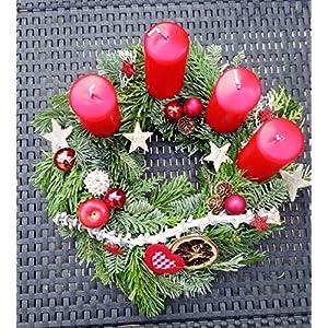 Adventskranz 25 bis 50cm rot, rustikal, Nordmanntanne & Koniferenmix, frisch hangebunden