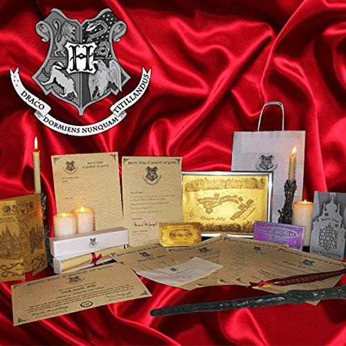 Geschenkset mit Harry-Potter-Thema Aufnahme in Hogwarts (evtl. nicht in deutscher Sprache), inkl. Zauberstab und Feder, personalisierbar (Potter Harry Karte Mit Zauberstab)