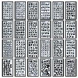 Lot de 24Lettre Nombre Pochoirs lettres de l'alphabet Pochoir pour Bullet Journal Fournitures DIY...