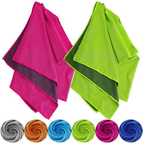 Tobfit Kühlendes Handtuch 2 Pack, 102 X 31 cm Sofortige Kühlung Relief in Heiß Umwelt, EIS Handtücher Bleib Kühlung für Sport und Fitness (02 Rose Rot & Grün, 102 X 31 cm) (Eis Angeln Handtuch)