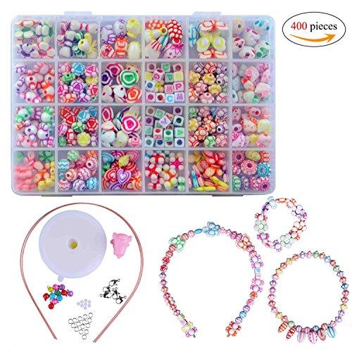 Kinder DIY Armband,DIY Perlenschmuck 24 Fächer Farbe Kunststoff Stringing Perlen in PVC Box zum Basteln von Schmuck Ketten Armbändern 400 pieces