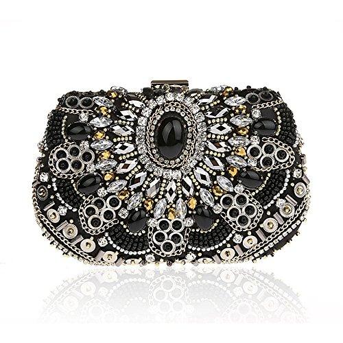 9994ea2cd56cb Harson Jane Vintage Luxus Clutch Bag Handmade Strass Perlen  Nabend Partei  Cocktail Handtasche mit Kette Schwarz