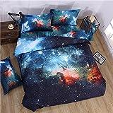 Juwenin Bettwäsche-Set, 3-teilig, 3D Galaxy-Aufdruck, angenehm, weich, 006, Einzelbett