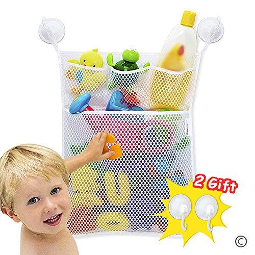 ielzeuge Tasche (46x33CM) mit 4 Saugnäpfen, Multi funktionale waschbar Mesh Badespielzeug Organizer,kinder wasserspielzeug organizer badewanne. ()