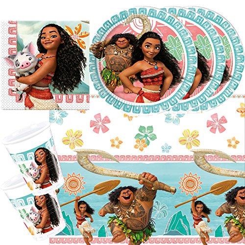 Preisvergleich Produktbild 37-teiliges Party-Set Disney Vaiana - Teller Becher Servietten Tischdecke für 8 Kinder