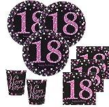 48 Teile zum 18. Geburtstag Pink Glitzer für 16 Personen
