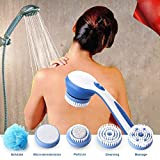 #10: Siddhi Collection Water Resistant Long Handle 5 in 1 Electric Bath Spin SPA Massage Shower Cleaning Brush Waterproof Facial and Body