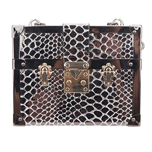 Bonjanvye Snake Pattern Chain Strap Shoulder Big Bag for Women Gold Black