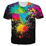 Funnycokid Junioren Tees Lustig 3D Druck Überall Muster Lässig Farbe Männeraller T-Shirts