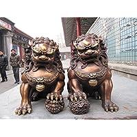 YUNHAO - Par de Figuras Chinas clásicas de Cobre de Bronce para Puerta de guardián Bei