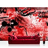 Vlies Fototapete 400x280 cm PREMIUM PLUS Wand Foto Tapete Wand Bild Vliestapete - Kinderzimmer Teen Jugendzimmer Graffitti Rot - RED GRAFFITI WALL - No. 036