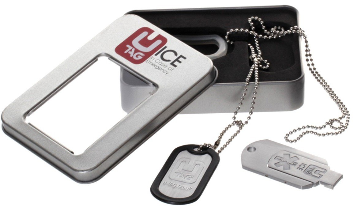 UTAG DIGITAL USB ICE DOGTAG IN METAL DISPLAY TIN