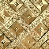 Hanmero Modern Fernseher Hintergrund Luxus Blattgold Mosaik 3D-Tapete Karo 0,53*10m Gold-Gelb für Hotel Wohnzimmer