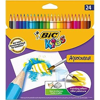 BIC Kids Aquacouleur Crayons de Couleur - Etui Carton de 24