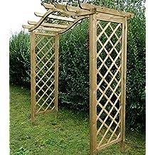 """Pérgola de madera con arco en forma """"omega"""". Elemento decorativo de jardín y soporte para plantas enredaderas"""