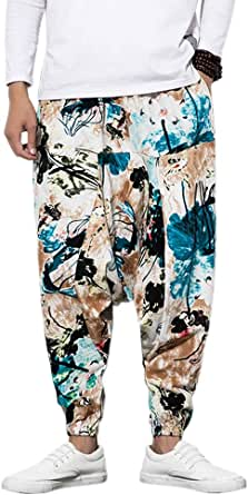 Pantaloni da uomo Harem con pantaloni Harem stampati e unisex con tasca Pantaloni da uomo Harem Pantaloni larghi Bloomers Dance Beach - Pantaloni da uomo Bloomers Aladdin Imbracatura Pantaloni casual