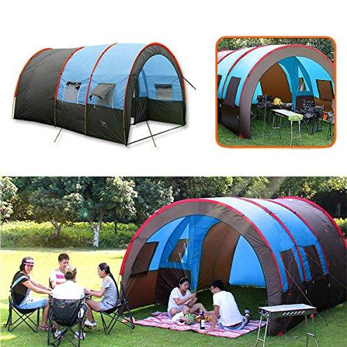 icht - Camping Zelt Tunnel - XD-ET4 Camping Zelt 8-10 Personen wasserdicht doppellagig großes Familienzelt Sonnenschutz (großes Tunnelzelt) ()