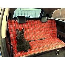 XtremeAuto®/mascota perro Protectora Cubierta impermeable universal 2 en 1 Boot Forro trasero del respaldo del asiento de coche, TARTAN ROJO/PLAI