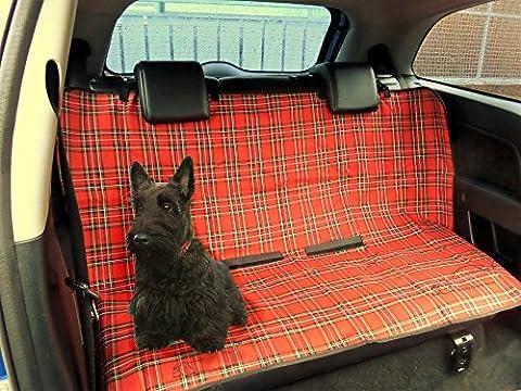 XtremeAuto® Hunde-/Haustier-Schutzmatte für die Rückbank im Auto, rotes Schottenmuster