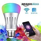 WiFi Smart LED Lampen,Solocil Dimmbar Mehrfarbig 7W RGB LED Birne E27 Glühbirnen ändern Stimmung Licht Steuerbar via App für IOS Android, kompatibel mit Amazon Alexa(Echo, Echo Dot)