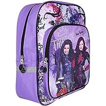Mochila para Niña Disney Los Descendientes - Bolso escolar con bolsillo frontal con estampado Evie y Mal - Bolsa para escuela primaria y secundaria - Violeta - 40x29x16 - Perletti