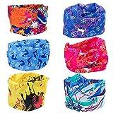 Vordas 6 Stück Headwear Bandanas - Multifunktionstuch Kinder Bandana Schal Elastische Halstücher für Yoga, Wandern, Reiten, Motorradfahren