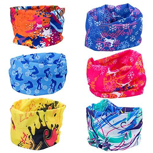 Vordas 6 Pezzi Copricapo Multifunzione Fascia Bandana Sciarpa di Riciclaggio della Bici Maschera di Protezione Colorate per Calcio, Ciclismo, Climb, Hiking (Style 1)