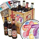 Geschenk zum 77. | Bier Geschenk Box | Bierset Geschenk | 77 Geburtstag Geschenke Opa | GRATIS Bierbewertungsbogen, 6 Geschenk Karten + Umschläge, 3 Urkunden