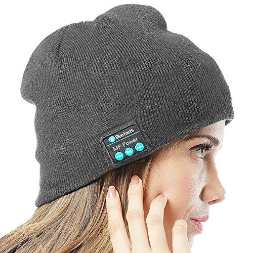 MP power ® Grau Wireless Bluetooth Beanie Mütze Smart Cap mit Bluetooth Stereo Kopfhörer Headset Kompatibel mit Smartphone Iphone 7 7 PLUS 6 Plus 6s Plus 6 6S 5 5S 4 4S 3G 3GS Samsung Galaxy S7 S6 S6 Edge Edge+ S5 S4 S4 Active S4 Mini S3 S3 Mini S2 Note 4