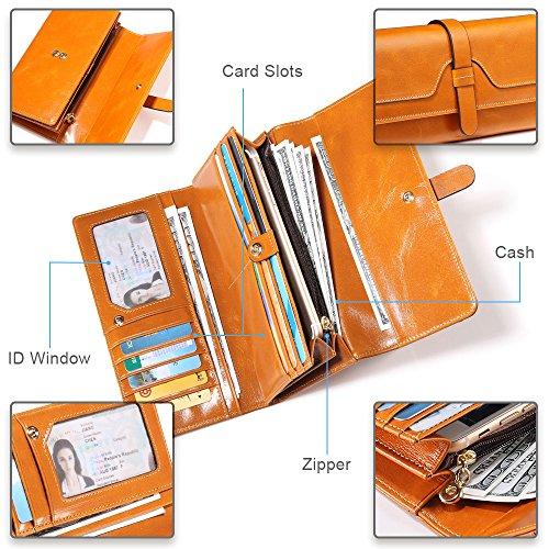 Damen Geldbörse, Gewachstes Echtleder, RFID Schutz - 7