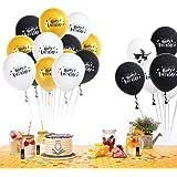 Amycute 40 Piezas Globo de látex, Globo de Amarillo, Blanco y Negro Globo Happy Birthday, Decoracion de Fiesta Mago Cumpleaño