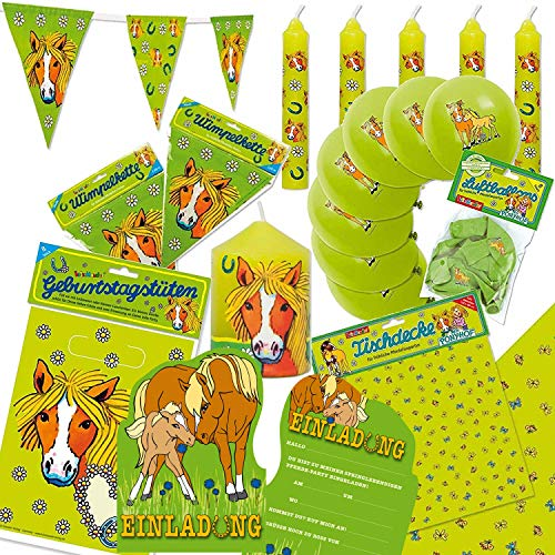 75-teiliges Deko-Set * PONY UND PFERDE * zum Kindergeburtstag oder Motto-Party // mit Tischdecke + Wimpelkette + Partytüten + Luftballons + Einladungen + Kerzen + Luftballons + Luftschlangen // Kinder Geburtstag Dekoration (Geburtstag Party Dekoration Pony)