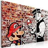 murando - Bilder Banksy Super Mario Mushroom Cop 120x80 cm Vlies Leinwandbild 3 Teilig Kunstdruck modern Wandbilder XXL Wanddekoration Design Wand Bild - Street Art Graffiti Urban Ziegel i-C-0119-b-e