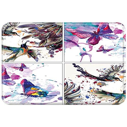 YISUMEI 40x60 cm Teppich Türvorleger Sauberlaufmatte Fußabtreter Lilie blüht Vogel-Aquarell-Malerei Aquarell Schmetterling Kunst