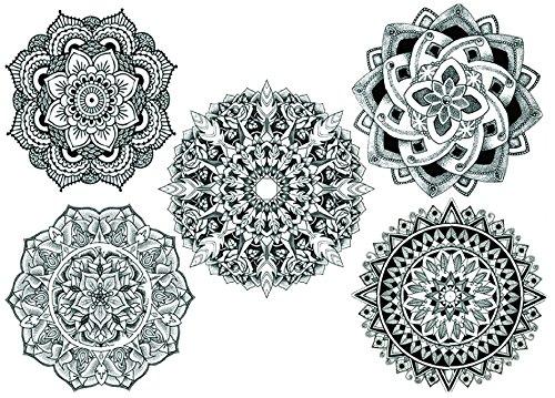 Mandala Tatouages noir bijoux Tattoo à coller pour sergé P12