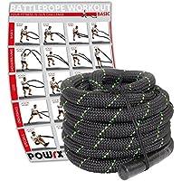 POWRX Battle Rope Schwungseil inkl. Workout I Ø 38 mm I Trainingsseil Sportseil Schlagseil Tau Seil für Fitness Kraft Training I Versch. Länge I Wandhalterung Optional