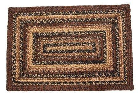 IHF Home Decor Cappuccino Design Geflochten rechteckig Teppiche Jute Stoff Schwarz mit Braun und Hellbraun Farbe Modern 22