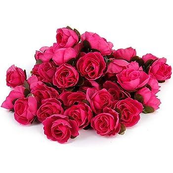 WINOMO 50pcs 3cm rose artificiali capolini Wedding Decoration (Rosy)