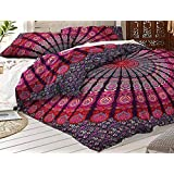 """Tapestry Lovers Lavender Peacock Mandala Cotton Duvet Cover Sets With 2 Pillow Covers, Bohemian Indian Reversible Handmade Doona Quilt Cover Coverlet 82"""" X 92"""" Inches"""