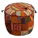 Ottoman Bezug braun Baumwolle Floral Traditionelle Möbel Fußhocker Sitz Puff Bezug (22x 22x 14), Ethnic Pouf rund indischen Patchwork bestickt, Baumwolle Vintage Patchwork bestickt verziert