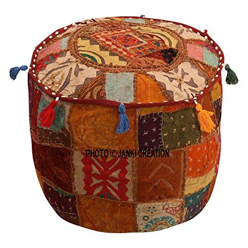 Cubierta otomana marrón algodón floral tradicional muebles reposapiés asiento Puff cubierta (18x18x13) étnico puf cubierta redonda indio patchwork bordado Pouffe