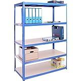 Etagère de rangement pour Garage, 180cm x 120cm x 60cm (Bleu) – 5 Étagère, Capacité de 875kg (175kg par Étagère) – très résis