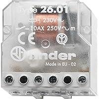 Finder 260182300000- Telerruptor/interruptor unipolar encastrable 1 NA - CA (50Hz) - 230 V, Transparente,