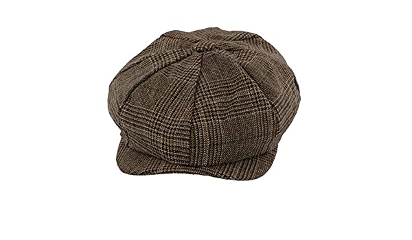 f4f43457d9a The Hat Company  Leo  Bakerboy Brown Check Wool Blend Cap (Small Medium  58cm)  Amazon.co.uk  Clothing