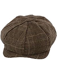 'Leo' Bakerboy Brown Check Wool Blend Cap