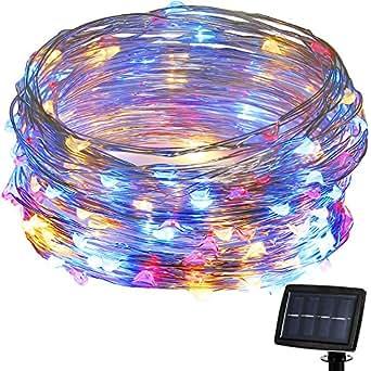 Solar Lichterkette, 200LED Außenlichterketter, Kupferdraht Lichterkette Weihnachtsdeko Weihnachtsbeleuchtung für Outdoor, Garten, Haus Weihnachtsfest, Hochzeit.(bunt) [Energieklasse A+++]