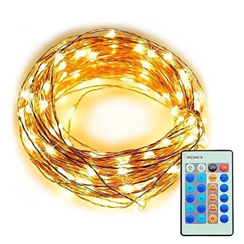 Refoss luci della stringa del LED con telecomando, dimmerabili Copper Wire stellata Luce per Natale (Wire Tulle)