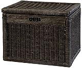 Korb mit Deckel Rattan geflochten Farbe Royal Schwarz, Regalkorb, Aufbewahrungsbox